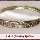 GENUINE Amethyst & DIAMOND gold bangle