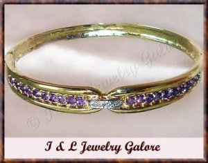 GENUINE Amethyst & DIAMOND gold bangle