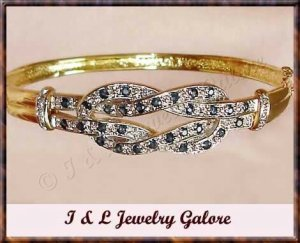 Designer Genuine SAPPHIRE & DIAMOND gold bangle