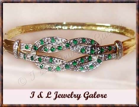 Designer emerald AGATE & DIAMOND gold bangle