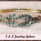 Designer emerald AGATE & DIAMOND gold bangle