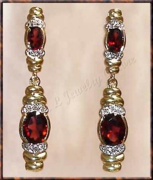 4.06 carat GARNET & DIAMOND gold drop earrings