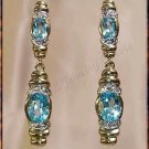 4.06 carat BLUE TOPAZ & DIAMOND gold drop earrings