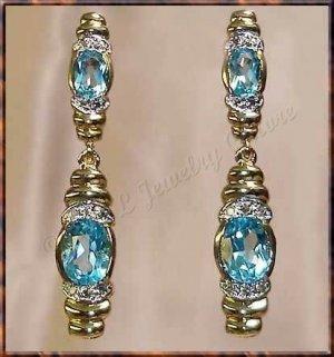 4.06 carat BLUE TOPAZ & DIAMOND gold drop earrings