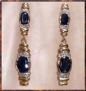 4.56 carat SAPPHIRE & DIAMOND gold drop earrings