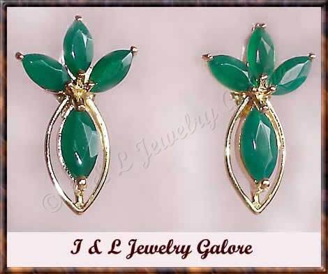 2.35 ctw genuine emerald agate gold earrings