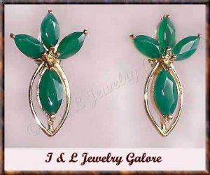 2.35 ctw genuine emerald agate gold earrings