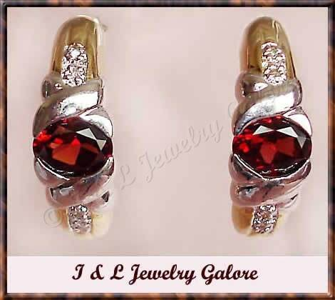 2.58 carat GARNET & DIAMOND J-hoop gold earrings