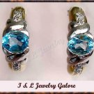 3.08 carat BLUE TOPAZ & DIAMOND J-hoop gold earrings