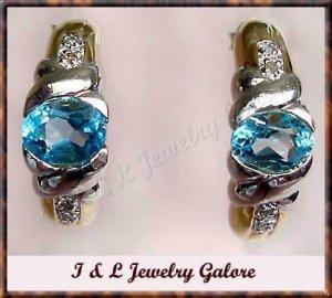 3.08 carat BLUE TOPAZ & DIAMOND J-hoop gold earrings