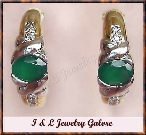 1.28 carat Emerald Agate & DIAMOND J-hoop gold earrings