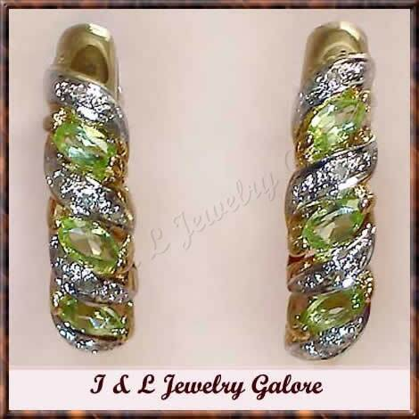 0.95ctw genuine PERIDOT & DIAMOND J-hoop gold earrings