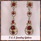 2.50 garat genuine Garnet gold filigree earrings