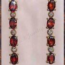4.04 carat Genuine GARNET & DIAMOND gold earrings