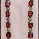 4.04 carat Genuine GARNET & DIAMOND gold earrings
