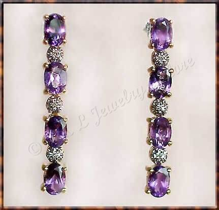 2.79 carat Amethyst & Diamond earrings