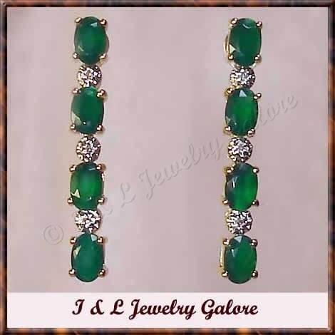 2.54 carat Emerald Agate & Diamond earrings