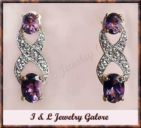 2 carat  Amethyst & Diamond earrings