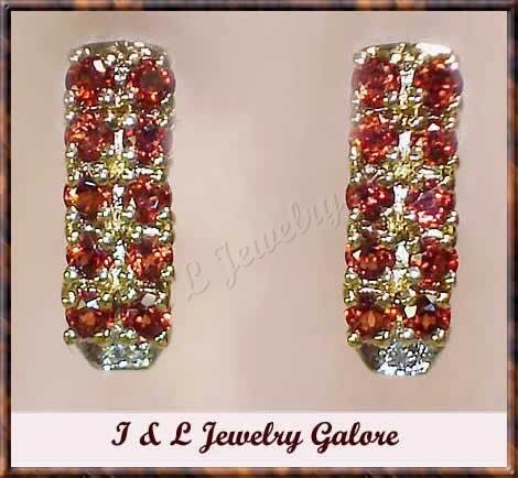 2.01 carat Genuine GARNET & DIAMOND gold earrings