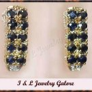 2.01 carat Genuine SAPPHIRE & DIAMOND gold earrings