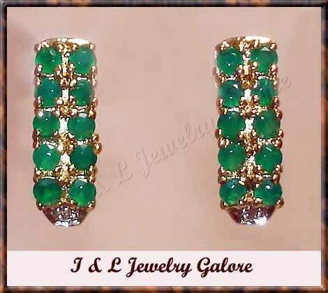 2.01 carat Genuine Emerald Agate & DIAMOND gold earrings