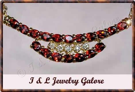 3.05 carat genuine GARNET and DIAMOND gold necklace