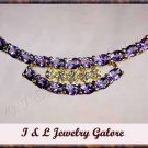 2.8 carat genuine AMETHYST and DIAMOND gold necklace