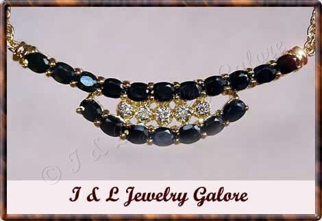 3.55 carat genuine SAPPHIRE and DIAMOND gold necklace
