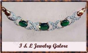 2.03 carat Genuine Emerald agate & DIAMOND gold necklace