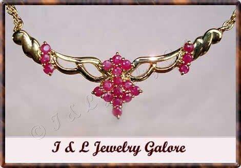 Unique genuine RUBY designer style gold necklace