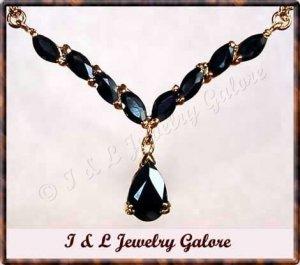 4 carat genuine Sapphire gold drop necklace