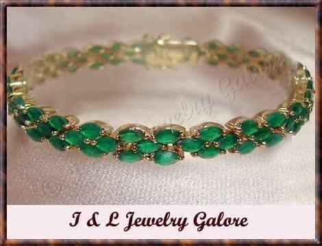 Amazing **11 carat** emerald agate tennis bracelet