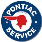 Pontiac Service Round Metal Tin Sign