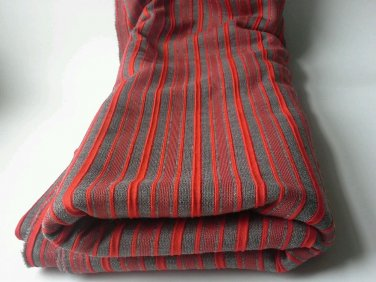 1 Yard Square Red Stripe Gray Stripe Fabric Cotton Hemp? Canvas? Upholstery Sew