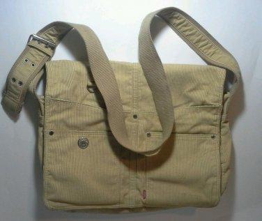 Levi's Messenger Bag Corduroy Laptop Red Tab Tan Sac Purse Tote Carry On EUC