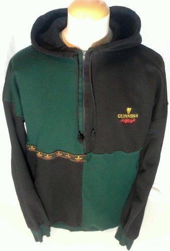 GUINNESS Sweatshirt Hoodie Jacket Mens Size 2XL XXL Beer HARP LOGO Half Zip EUC