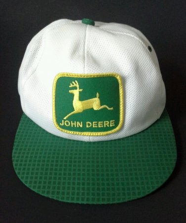 John Deere Hat Snapback Cap 80's Logo Patch Trucker Green White Mesh Vintage USA