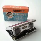 Vintage FOLDING BINOCULARS SCOPE Pocket SPORT GLASSES 2.5 X 25 Opera Concert RED