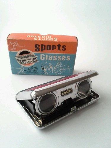 Vintage FOLDING BINOCULARS SCOPE Pocket SPORT GLASSES 2.5 X 25 Opera Concert RED
