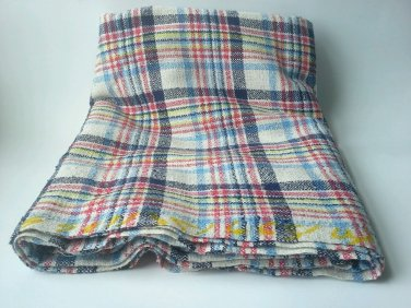 Plaid Fabric 1 Yard  100% Cotton? Canvas? Window Pane Square Thick Heavy Hemp?