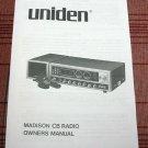 Uniden Madison AM/SSB CB Radio Owners Manual w/schematics