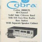 Cobra 2000GTL AM/SSB CB Radio Owners Manual w/schematics