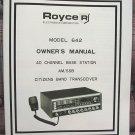 Royce 642 AM/SSB CB Radio Owners Manual w/schematics