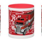 Classic BJ and the Bear Coffee Mug - RED HANDLE & RIM! Brilliant colors!