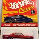 1970 Plymouth Roadrunner #9 * RED * Classics Hot Wheels *