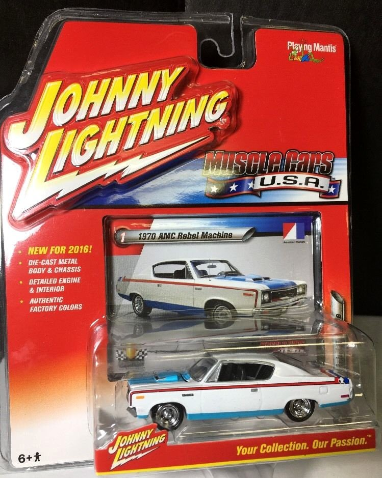 "Johnny Lightning 1970 AMC Rebel ""The Machine"" RED/WHITE/BLUE 2016"