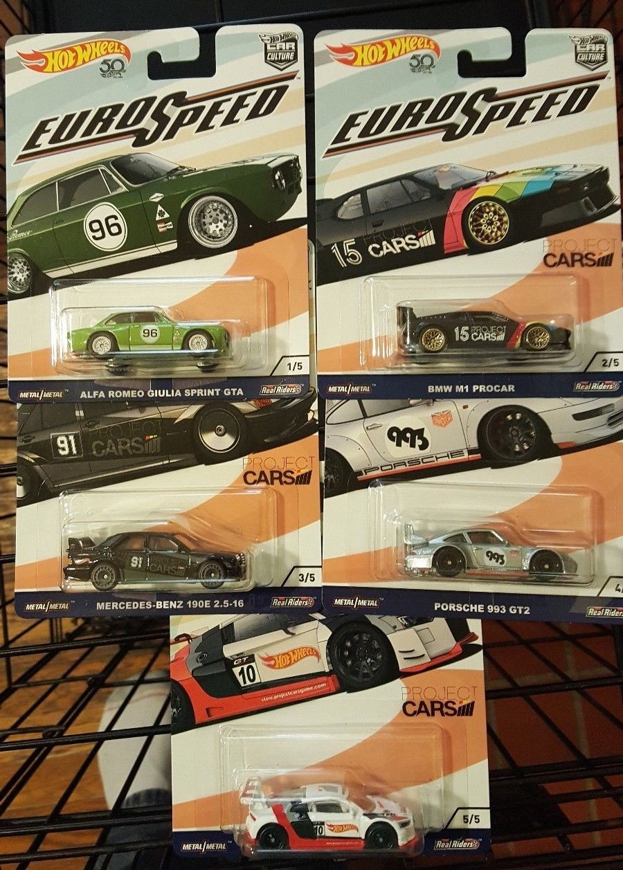 2018 Hot Wheels 50th Anniversary Car Culture Euro Speed 5 Car Set
