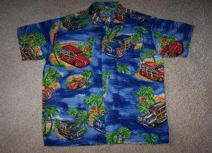 Hawaiian Luau Woody Wagon Car Shirt Men's M
