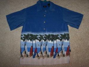 Boys Surfboard Shirt  Size 14 Palm Trees Luau Tiki Very Nice!