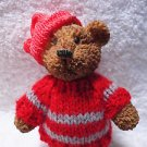 bear figurine with a little Red Knit Sweater and hat